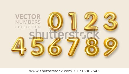 Gold Numerals Set Vector. Golden Yellow Metal Letter. Number 0 1 2 3 4 5 6 7 8 9. Alphabet Font. Typ Stock photo © pikepicture