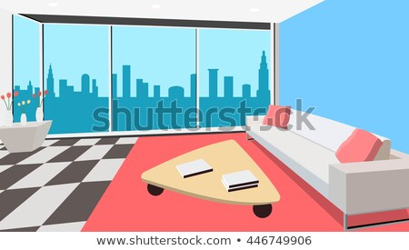 Living room interior design Vector. Modern decorations. Flat sty Stock photo © frimufilms