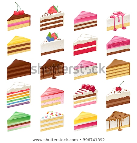 vector piece of cake with with rainbow and strawberry stock photo © natalia_1947