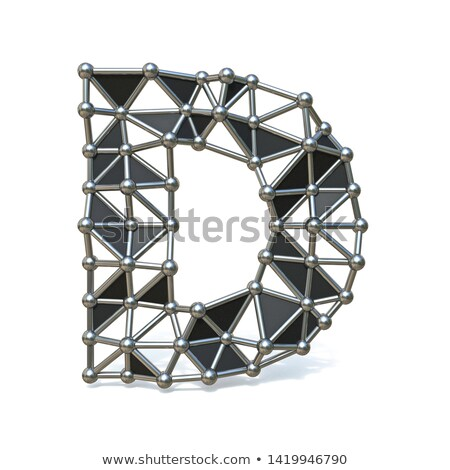 Wire low poly black metal Font Letter D 3D Stock photo © djmilic