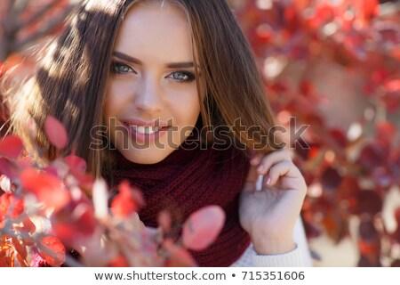 portret · mooie · jong · meisje · paraplu · regen · springen - stockfoto © elenabatkova
