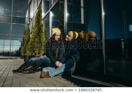 現代 · ライフスタイル · 女性 · 座って · 屋外 · ガラス建築 - ストックフォト © elenabatkova