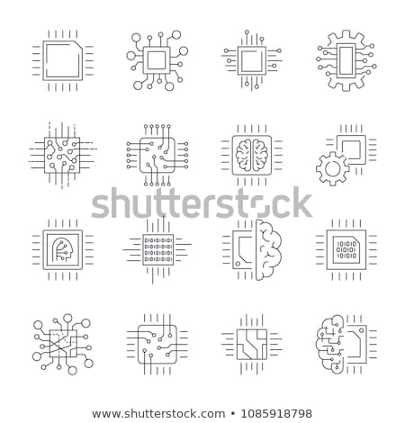 искусственный · интеллект · набор · линия · дизайна · стиль · иконки - Сток-фото © frimufilms