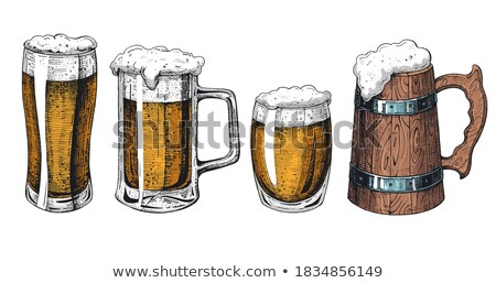 Color Drawn Classical Glass With Foam Beer Vector stock photo © pikepicture