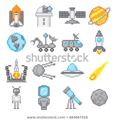 Pixel Game Space Graphics 8 Bit Aliens Spacecraft Stock photo © robuart