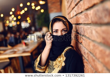 Güzel gözler genç Müslüman kadın yüzü gizlenmiş Stok fotoğraf © pressmaster