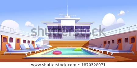 Sailboat and Passenger Liner Marine Travel Vessels Stock photo © robuart