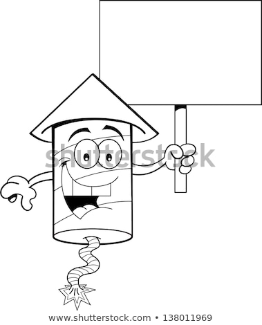 Cartoon Firecracker Holding a Sign (Black and White Line Art) Stock photo © bennerdesign