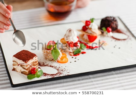 Dishes on Table, Food Cake Dessert and Drinks Stock photo © robuart