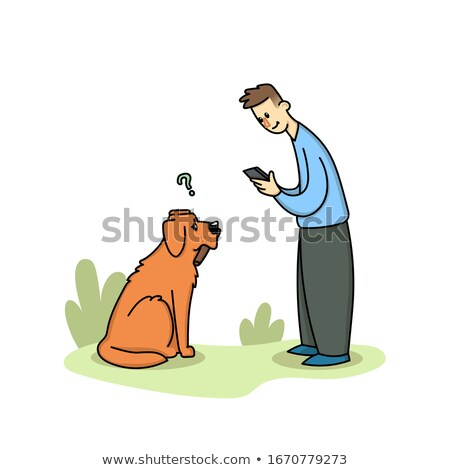 Young Boy Walking with Dog and Using Phone in Park Stock photo © robuart