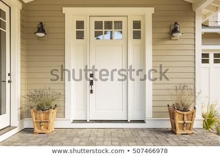 Bejárati ajtó elöl lépcső nyitva ősz levelek Stock fotó © jsnover