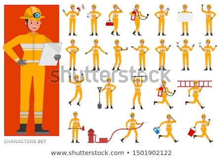 Cartoon Firefighter Extinguishes a Fire Stock photo © Voysla