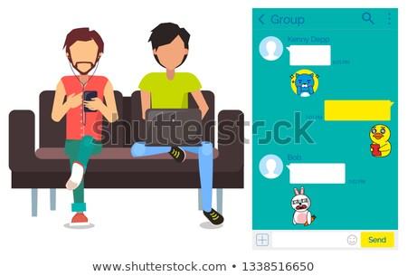 mobil · ui · készlet · hírnök · vektor · chat - stock fotó © robuart