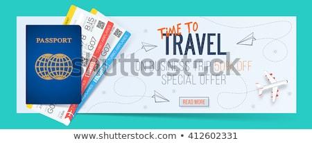 Tempo viajar passaporte bilhetes vôo vetor Foto stock © robuart
