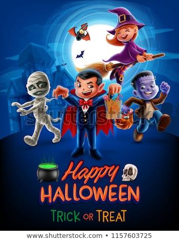 Halloween ünnep rajz poszter terv zombi Stock fotó © izakowski