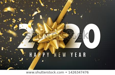 glückliches · neues · Jahr · Glas · Spielerei · Schnee · Hintergrund · Weihnachten - stock foto © cienpies