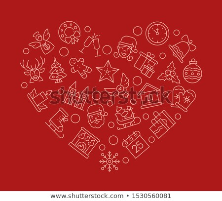Xmas attributes in heart shape linear vector illustration Stock photo © Decorwithme