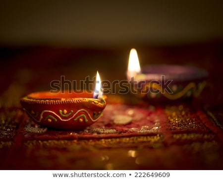 happy diwali festival greeting card with two diya stock photo © sarts