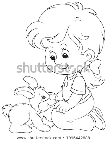 game book coloring  girl  rabbit colors Stock photo © Olena
