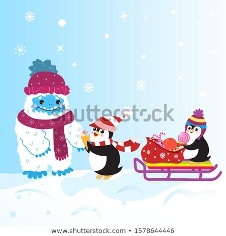 Karácsony pingvin szánkó kép boldog művészet Stock fotó © clairev