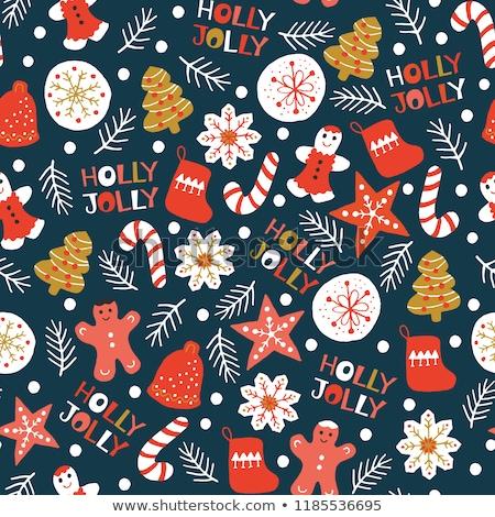 Karácsony végtelen minta sütik cukorka csomagolás terv Stock fotó © balasoiu