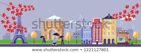 осень Эйфелева башня икона вектора Париж Осенний сезон Сток-фото © frimufilms