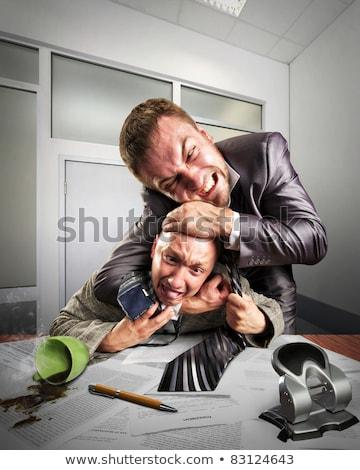 Geschäftsleute kämpfen Vereinbarung Unterzeichnung zwei böse Stock foto © nomadsoul1