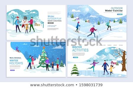 Winter Holidays Family Skiing in Vacation Website Stock photo © robuart