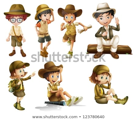 Jongen safari kostuum witte illustratie gelukkig Stockfoto © bluering