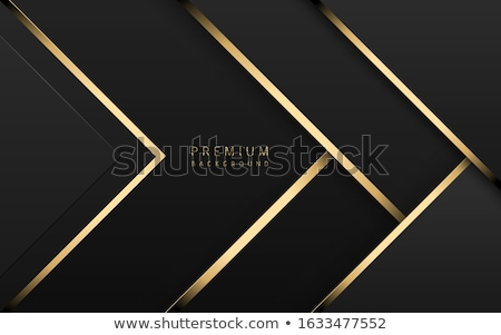 Vector luxury tech background. Stack of black paper material layer with gold stripe. Arrow shape Stock photo © Iaroslava