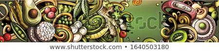 Dieta alimentos dibujado a mano garabato banner Cartoon Foto stock © balabolka