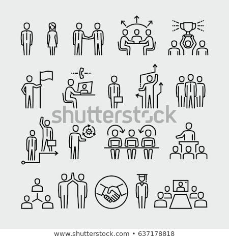 Teamwork Strategy, Worker Handshake, Office Vector Stock photo © robuart