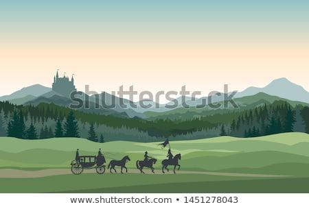 Kastély fuvar lovag hegyek tájkép vidéki Stock fotó © Terriana