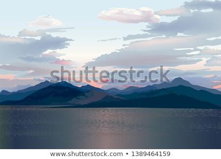 Vízpart sziluett tenger naplemente hegy dombok Stock fotó © Terriana