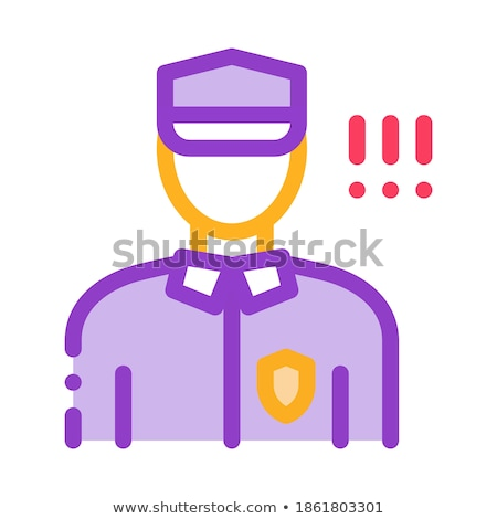 Policeman Control Security Icon Vector Outline Illustration Stock photo © pikepicture