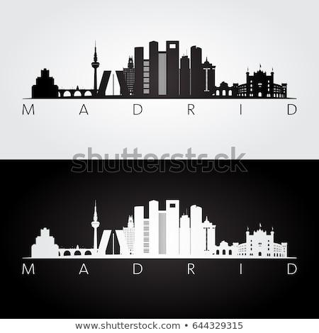 Madrid City skyline black and white silhouette Stock photo © ShustrikS