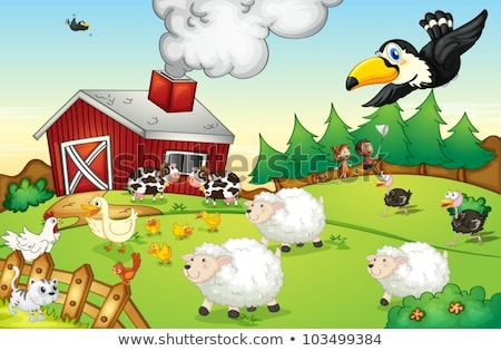 Farm scene with many animals by the barn Stock photo © bluering