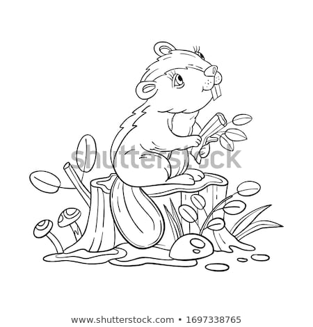 cartoon beaver animal coloring book page Stock photo © izakowski