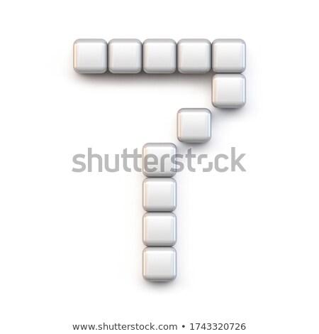 Fehér kocka pixel betűtípus szám hét Stock fotó © djmilic