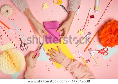 Ręce kobieta dziecko kolorowy konfetti górę Zdjęcia stock © dashapetrenko