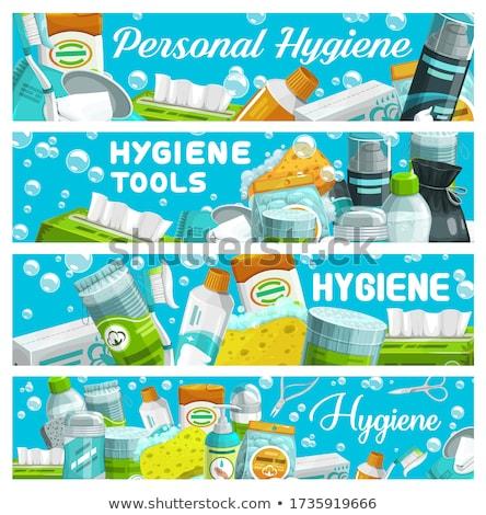 Creme dental oral higiênico produto bandeira vetor Foto stock © pikepicture
