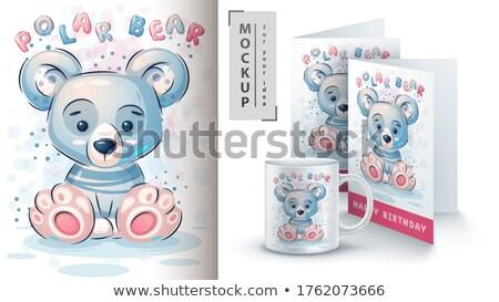 Cute orso polare poster vettore eps 10 Foto d'archivio © rwgusev