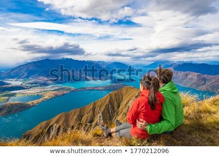 Új-Zéland kirándulás emberek hegy felső csúcs Stock fotó © Maridav