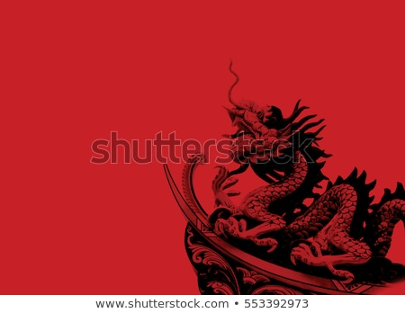 twin chinese dragon statue on white stock photo © nuttakit