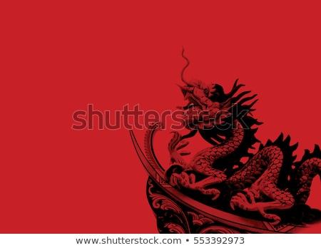 близнец Китайский дракон статуя белый изолированный тень Сток-фото © nuttakit