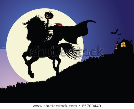 Haunted House at night with moon. EPS 8 Stock photo © beholdereye