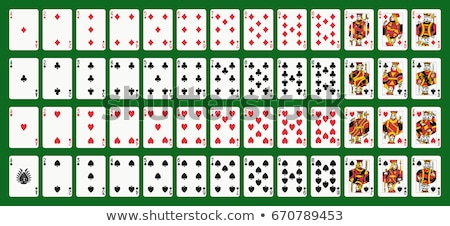 Iskambil kartları vektör yeşil kalp kulüp kumarhane Stok fotoğraf © Bumerizz