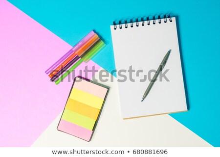 Kleur nota papieren Blauw pen Stockfoto © luapvision