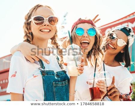 vrouw · bril · naar · gelukkig · kant - stockfoto © rob_stark