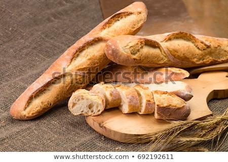 Foto stock: Francês · isolado · branco · comida · pão